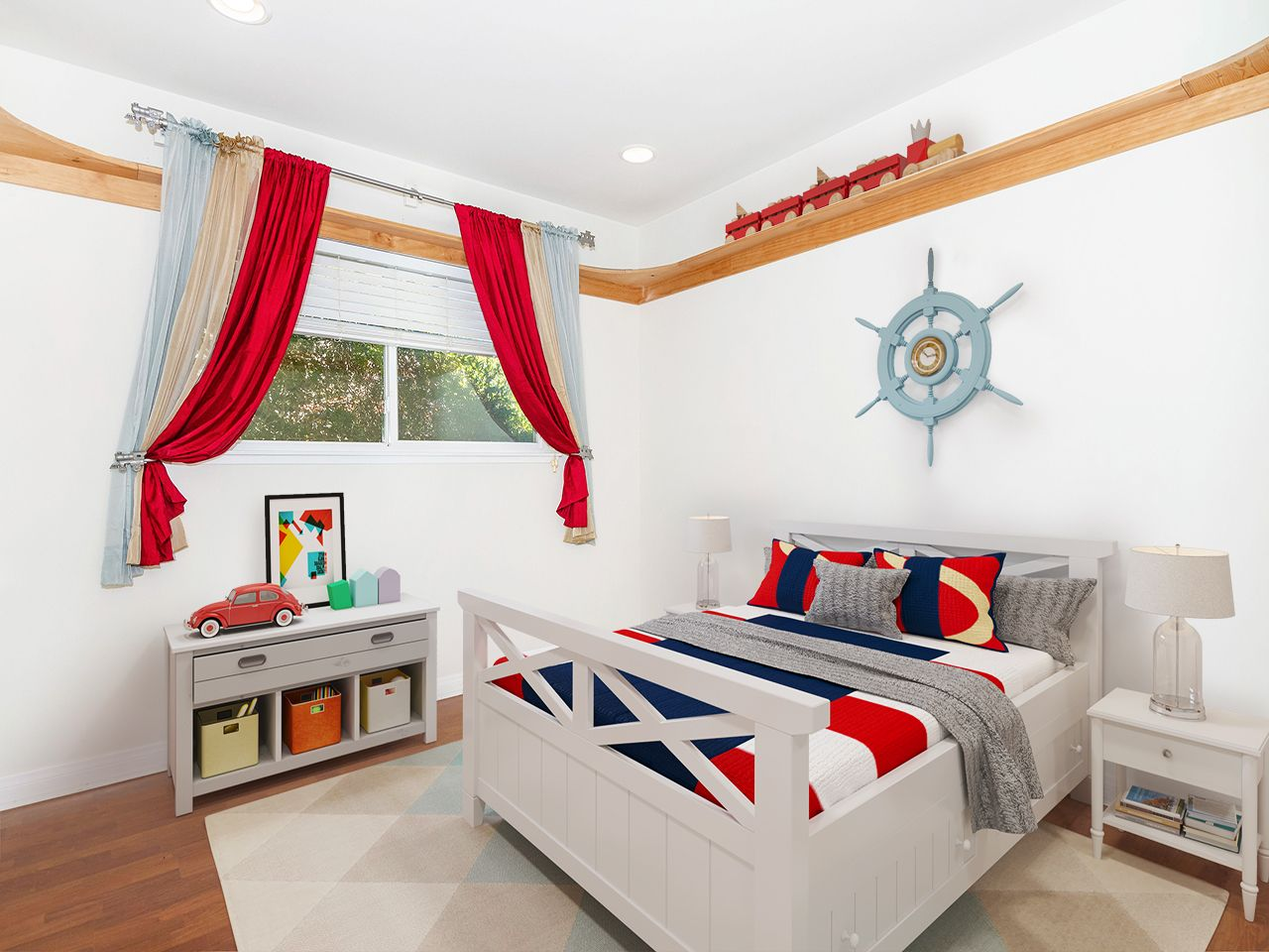 14138 Mango Dr – kids bedroom with red curtains NEW version with train virtually staged